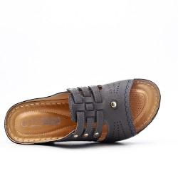 Grande taille -Mule confort grise en simili cuir