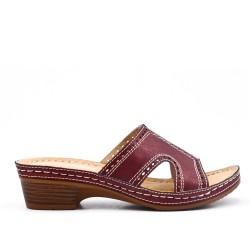 Grande taille -Mule confort bordeaux en simili cuir