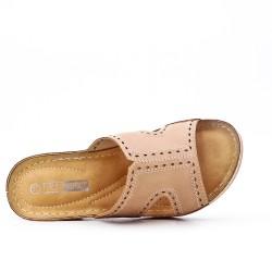 Grande taille -Mule confort beige en simili cuir
