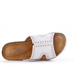 Grande taille -Mule confort blanche en simili cuir