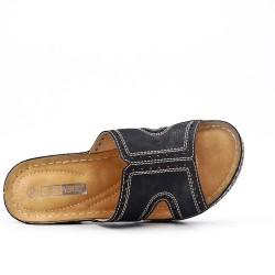 Tamaño grande -Mula negra de confort en piel sintética
