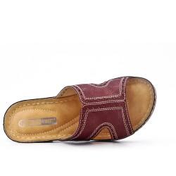 Mule confort bordeaux en simili cuir