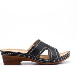 Mule confort noire en simili cuir