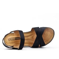 Sandale noire à petit compensé