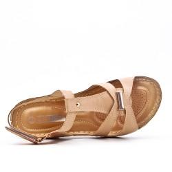 Grande taille - Sandale beige à petit compensé