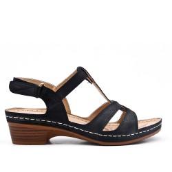 Grande taille - Sandale noire à petit compensé