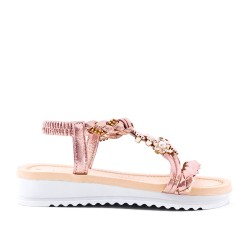 Champagne flat sandal with braided flange