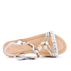 Sandalia plana plata con brida trenzada