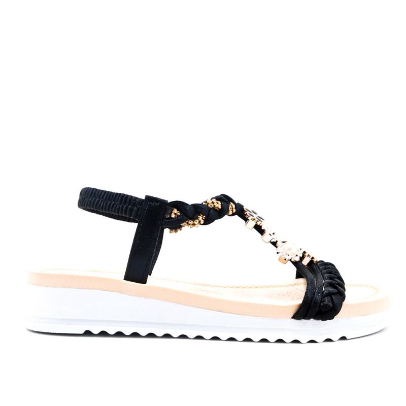 3ed29425c Black flat sandal with braided flange