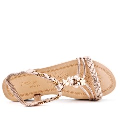 Golden flat sandal with braided flange