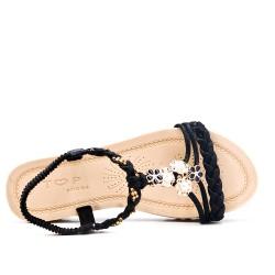Sandalia plana negra con brida trenzada