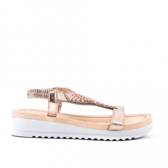Sandale doré ornée de perles