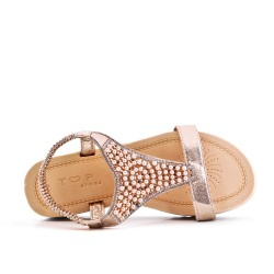 Golden sandal with pearls