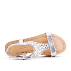 Sandalia plata con perlas