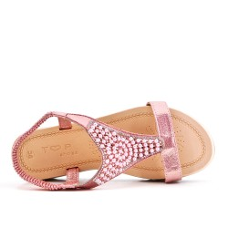 Champagne sandal with pearls