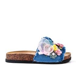 Claquette bleu à fleur