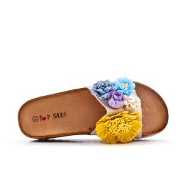 Aleta beige en gamuza sintética con flor