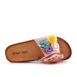 Claquette rose en simili daim à fleur