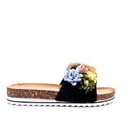 Aleta negra en gamuza sintética con flor