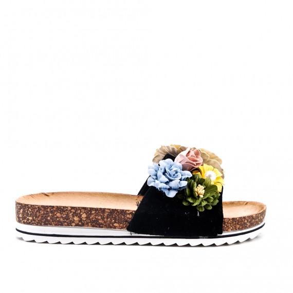 Claquette noire en simili daim à fleur
