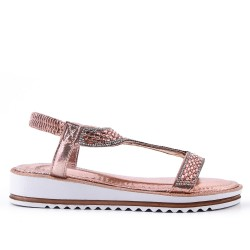 Champagne sandal with rhinestones