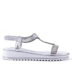 Sandalia plata con diamantes de imitación