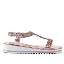 Sandalia oro con diamantes de imitación