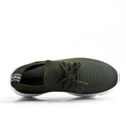 Basket verte en textile extensible à lacet