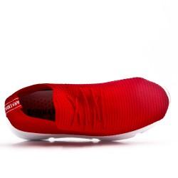Basket rouge en textile extensible à lacet