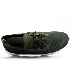 Green sneaker in lace-up fabric