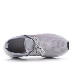 Zapatilla gris en tejido con cordones