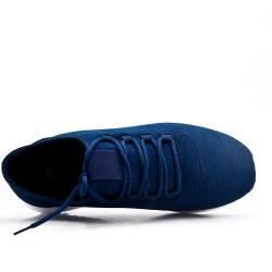Basket bleu en textile extensible à lacet