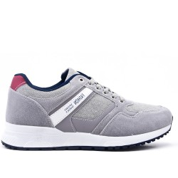 Gray bi-material lace-up sneaker