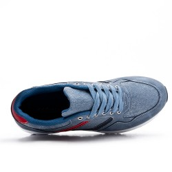 Blue bi-material lace-up sneaker