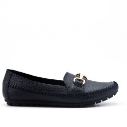 Black comfort moccasin in faux leather