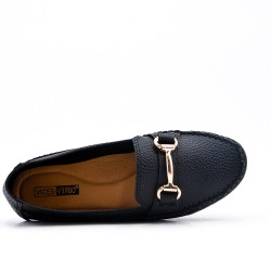 Big size -Black comfort moccasin in faux leather