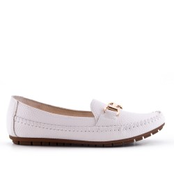 Big size -White comfort moccasin in faux leather