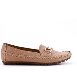 Big size -Beige comfort moccasin in faux leather