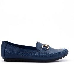 Talla grande - Mocasin blue de confort en imitación de cuero