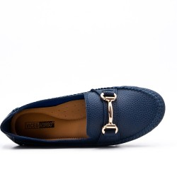 Big size -Blue comfort moccasin in faux leather