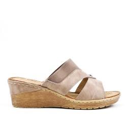 Sandale mule taupe à talon compensé