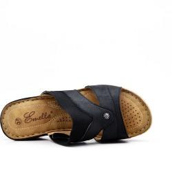 Sandale mule noire à talon compensé