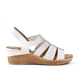 White wedge sandal in faux leather