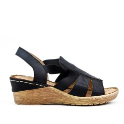 Black wedge sandal in faux leather