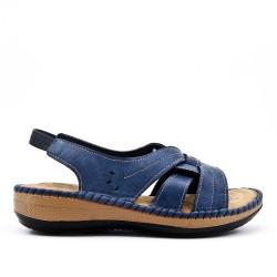 Sandale confort bleu en simili cuir