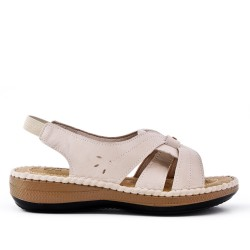 Beige comfort sandal in faux leather