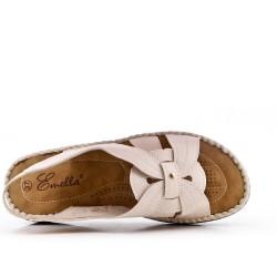 Sandale confort beige en simili cuir