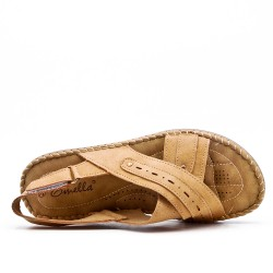 Camel comfort sandal in faux leather