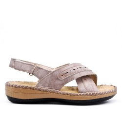 Taupe comfort sandal in faux leather