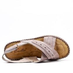 Sandale confort taupe en simili cuir